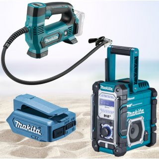 Makita Akku Radio DMR112 + Akku Kompressor MP100DZ + USB...